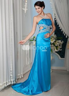 Blue Sheath Strapless Lace Elastic Woven Satin Prom Dress. Train length 15cm. See More Strapless at http://www.ourgreatshop.com/Strapless-C937.aspx
