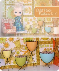 Do you have leftover plastic Easter eggs and don't know what to do with them? Try making vintage-style Bullet Planters for your child's (or your!) dollhouse from them. DIY blogged.