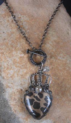 Rhinestone Leopard Print Soldered Heart www.nanettemc.etsy.com