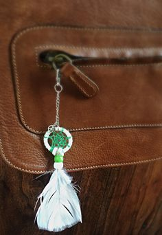 """Green and White Dream Catcher Keychain - White Accessory - Small Gift - Keyring - Purse charm - Party Favor - Peace Sign Charm- This white and green dream catcher keychain is perfect for your keys, purse, or just as decoration anywhere, even your car!  Dream Catchers are wonderful meaningful gifts for any occasion including birthdays, holidays, or just """"thinking of you""""! These pink keychains are a great idea for party favors - if buying in a bulk, will discount the price on request!"""
