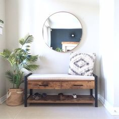 Foyer Makeover - love the simplicity of this design way bench Harlow & Th. Foyer Makeover – love the simplicity of this design way bench Harlow & Thistle – Home De Furniture, Foyer Furniture, Farm House Living Room, Living Room Decor, Home Decor, House Interior, Apartment Decor, Room Furniture, Trendy Home