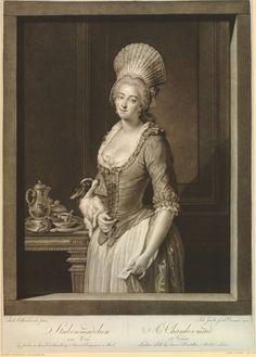 Portrait d'une femme de chambre à Vienne portant un bonnet, tenant une lettre dans sa main gauche et un chien sous son bras droit; avec une théière, des tasses et un croissant sur une assiette en arrière-plan à gauche, 1785 Impression faite par Johann Jacobé, après August Friedrich Oellenhainz