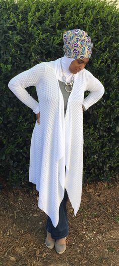 A personal favorite from my Etsy shop https://www.etsy.com/listing/275500216/draped-cardigan-white-drape-cardigan