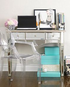 Ghost chair & mirrored desk/dressing table