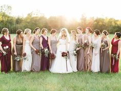 prettiest mix of fall bridesmaid dresses   Kristen Kilpatrick