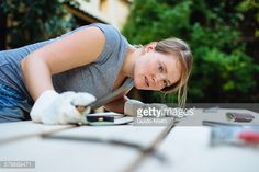 Stock Photo : Woman checking her work.