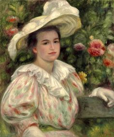 Woman in a White Hat, 1895 ~ Pierre-Auguste Renoir ~ (French: 1841-1919)