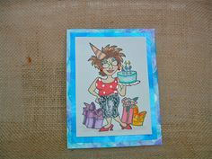 A Girl and Her Cake Birthday Card by ACreativeCookie on Etsy