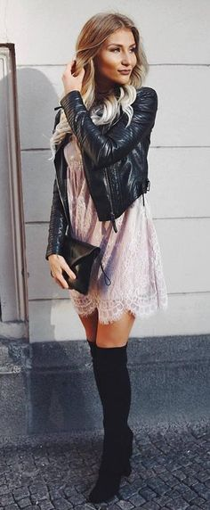 what to wear with over the knee boots : leather jacket + lace dress + bag