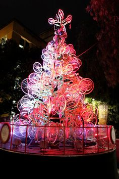 Christmas tree  made from 100 recycled bicycle parts
