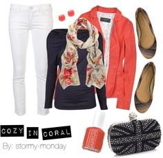"""Cozy In Coral"" by stormy-monday on Polyvore"