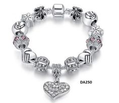 European Charm Bracelet Tibetan Silver Plated Charms and Crystals #DonAbie