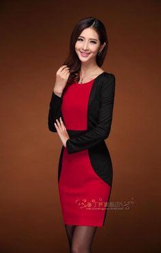 Đầm đen phối đỏ thời trang