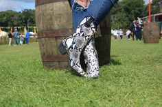 Talolo Boots: Seriously cool funky festival Wellies for Women! The original Cowboy style Welly boot that looks great wherever you wear them ! Take a look Funky Wellies, Wellies Boots, Festival Wellies, Snakeskin Boots, Bandy, Waterproof Winter Boots, Wellington Boot, On The High Street, Look Chic