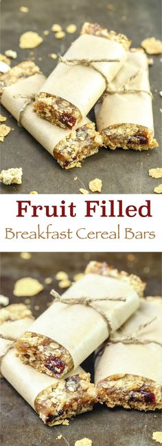 These homemade fruit filled cereal bars are a great way to start your day with a boost. Packed full of fiber, fruit, and flavor to fuel your day on the go! SpoonfulofGoodness AD