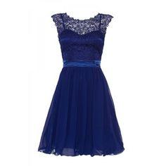 Royal Blue Lace Chiffon Prom Dress
