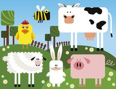 This fun wall mural design is perfect for youngsters who are after a funny and colourful take on the classic farm setup. #ohpopsi