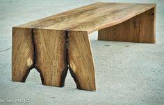 Folded Bole Coffee Table/ Live Edge bench  by brandmojointeriors, $650.00