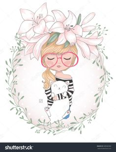 Cute girl with cat/cute cat illustration for apparel/Book illustrations for children/T-shirt Graphic/Girl with flowers/Romantic hand drawing poster/cartoon character/children art