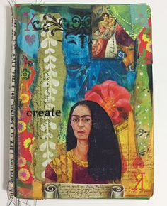 By Design Team Member Kim Collister using a Frida Kahlo Collage Sheet from Retro Café Art Gallery. www.RetroCafeArt.com