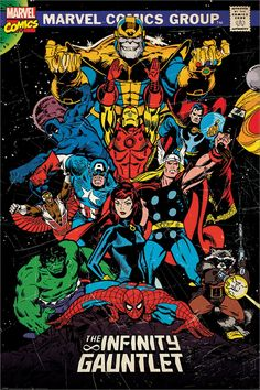 The avengers - marvel comics poster / print (comic cover: the infinity gauntlet) (iron man, thor, captain america, spider-man. Avengers Comics, Avengers Poster, Comic Poster, Marvel Comics Art, Marvel Comic Books, Poster Marvel, Heroes Comic, Marvel Heroes, Spiderman Marvel
