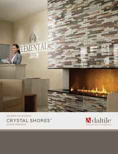 """Crystal Shores is offered in six blends that will coordinate with a variety of color schemes and can be used to create stunning backsplashes as well as borders and decos. Crystal Shores is available in Random Interlocking mosaic and 2"""" x 1"""" brick-joint mosaic on a mesh mounted sheet. Crystal Shores is suitable for residential and commercial wall and backsplash applications and is composed of """"Crackle"""" glass and metallic glass with both smooth and textured finishes."""