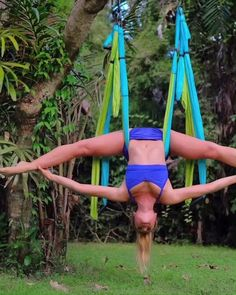 you can install aerial yoga swing indoor outdoor using door mount bar exposed beam tree branch ceiling mount etc. Develops your core muscles improves stretching and is fun for kids. Fitness Workouts, Yoga Fitness, At Home Workouts, Glute Workouts, Stretching Exercises, Kids Fitness, Physical Fitness, Health Fitness, Studio Pilates
