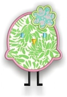 Girlie Chickie from the Springtime Birds and Trees set - 5 sizes - Applique Machine Embroidery Design - for 4x4 5x7 and 6x10 hoop