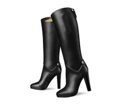 "Horse Hermes ladies' boot in black box calfskin, rounded cover, ""Hermes Paris"" palladium plated Clou de Selle, 4.13"" heel"