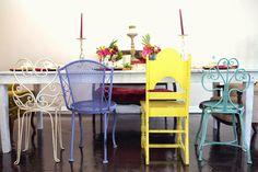 Alice in Wonderland Themed Wedding - Colorful Chair Setup RSVP: The RiverRoom Blog