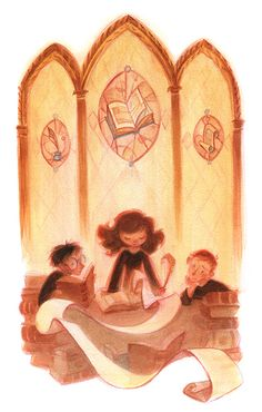 Harry Potter Illustrations by Casey Robin - Trio in the Library