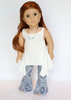 American Girl Doll outfit - twirly tunic and wide leg yoga pants - blue and off white by EverydayDollwear on Etsy American Girl Crafts, American Doll Clothes, Ag Doll Clothes, Doll Clothes Patterns, American Dolls, Wide Leg Yoga Pants, America Girl, Girl Dolls, Doll Stuff