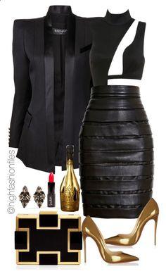 Pretty Cool Black/Gold Clothing ❤ Balmain, Sondra Roberts, Christian Louboutin, Erickson Beamon / Only Me 💋💚💟💖✌✔👌💙💚 xoxo Classy Outfits, Sexy Outfits, Chic Outfits, Fashion Outfits, Fashion Tips, Fashion Trends, Vegas Outfits, Black Outfits, Skirt Fashion