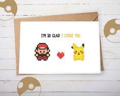 Valentine Valentines Day Card Pokemon Love Him Her Geeky Nerdy