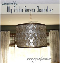 Pig and Paint: How to Make a DIY Designer Capiz Drum Shade Chandelier {a la Oly Studio Serena} I like the making of the shade.