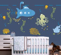 Submarine Wall Decal with Ocean Animals, Under the Sea Nursery Wall Decal for Baby, Kids or Childrens Room 037 $78