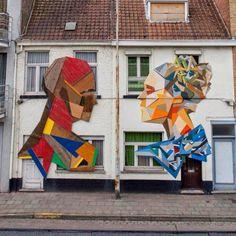New mural by Stefaan De Croock aka Strook - Bruges, Belgium - 9 May 2014
