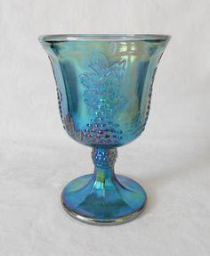 Indiana Glass Blue Carnival Harvest Grape Goblet by WeBGlass on Etsy