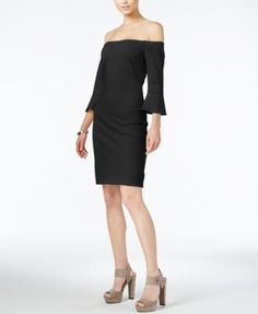 Bar III Off-The-Shoulder Bell-Sleeve Dress, Only at Macy's | macys.com