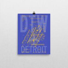 DTW Detroit Airport Diagram Poster