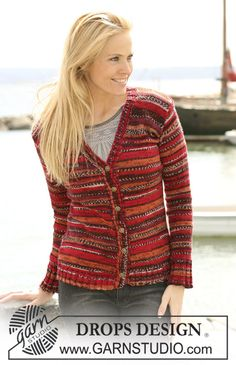 """DROPS Jacke in """"Fabel"""". In Grösse S-XXXL ~ DROPS Design - free pattern for this knitted jacket"""