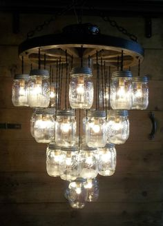 "WOOD WAGON WHEEL 22"" Light Fixture-33 Mason Jar 4 Tier Chandelier Wooden Wheel #WAGONWHEELCOUNTRYWESTERNPRIMITIVE"