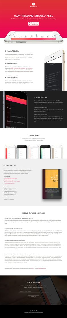 "Ex-Apple designer, Kory Westerhold and Yahoo design director, Aaron Martin, bring us this slick parallax scrolling One Pager for 'NeuBible' - a bible app designed for pleasurable reading. Minus points for the ""scrolljacking"" but overall a beautiful website and product design by the duo. Bet this is going to sell."