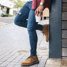 The Safari Veldskoen Heritage - Handmade With Genuine Leather (Black Sole) Clean Shoes, Desert Boots, Ripped Jeans, Safari, Sunday Coffee, Street Style, Fashion Outfits, Handmade Leather, Lady