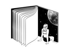 Reading is Dreaming with Your Eyes Open by Henn Kim Vector line art drawing / il. Reading is Dreaming with Your Eyes Open by Henn Kim Vector line art drawing / il. Art And Illustration, Black And White Illustration, Landscape Illustration, Art Inspo, Art Du Croquis, Open Art, Book Posters, Ouvrages D'art, Art Design