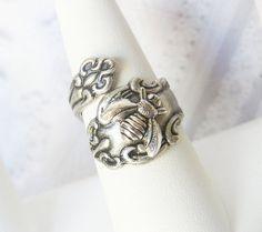 Spoon Ring - The ORIGINAL Silver Bee SPOON RING  - Jewelry by BirdzNbeez - Wedding Birthday Bridesmaids Gift