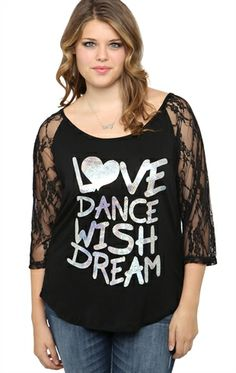 Deb Shops Plus Size Lace Sleeve Top with Love Dance Wish Dream Screen $11.45