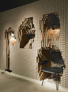 3D Walls Made From Timber Dowels and Paper Pipes - Elizabeth Whittaker