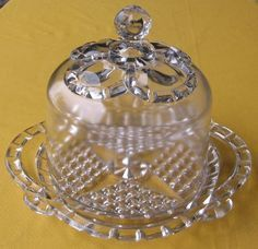 Nova Scotia Glass, Covered Cheese Dish, Crown or Pillar Pattern. on Jun 2013 Crown Pattern, Cheese Dishes, Glass Company, Pressed Glass, Nova Scotia, Depression, Perfume Bottles, Antiques, Family History