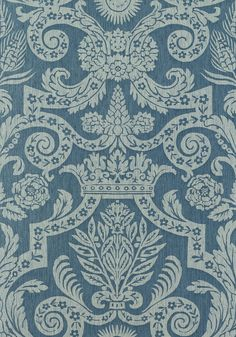 HARVARD DAMASK, Pearl on Slate Blue, T6029, Collection Anniversary from Thibaut